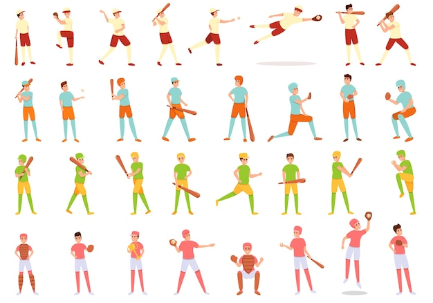 Коллекция детей, играющих в бейсбол иконки