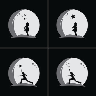 아이들의 컬렉션은 달 배경으로 꿈에 도달합니다