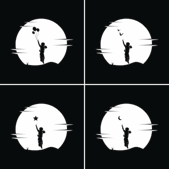 아이들의 컬렉션은 달 배경으로 꿈에 도달합니다.