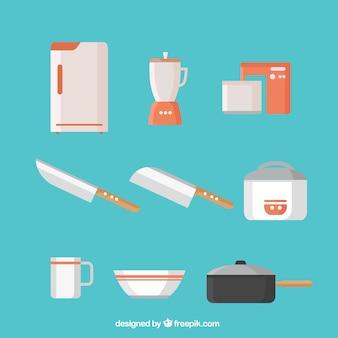평면 디자인의 주방 용품 컬렉션