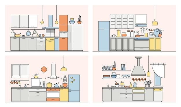 Коллекция кухонь, полная современной мебели, бытовой техники, посуды, кухонных принадлежностей и предметов интерьера. набор элегантных интерьеров в стиле арт линии. векторная иллюстрация.