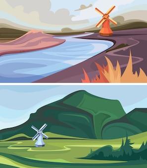 풍차와 풍경의 컬렉션입니다. 아름다운 자연 경관.