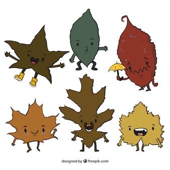 다른 식으로 나뭇잎의 컬렉션