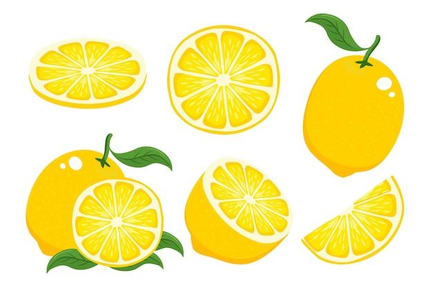 Коллекция лимонов, изолированные на белом фоне