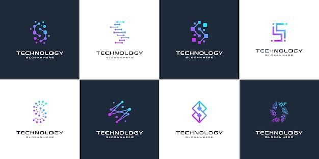 문자 s 추상 로고 디자인 기호 문자 마크 기술, 도트, 컴퓨터, 데이터, 인터넷의 컬렉션입니다. .