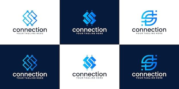회사, 기술 및 컨설팅을 위한 문자 s 모노그램 로고 디자인 모음