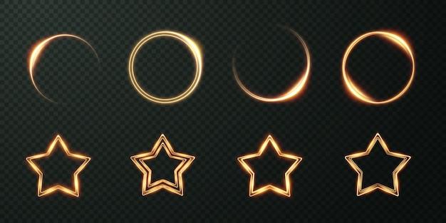 軽い幾何学的なフレームのコレクション。ゴールドのお祭りフレームのセット。
