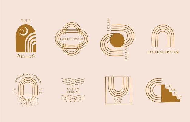 曲線、虹のラインデザインのコレクション