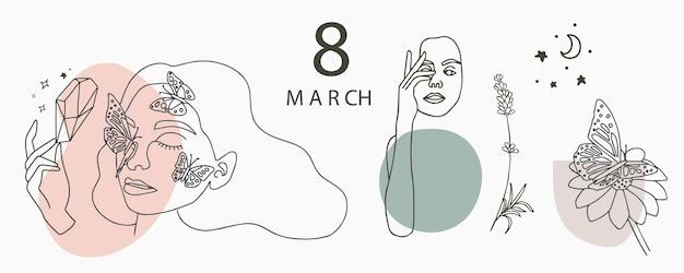 Коллекция дизайна линии с геометрическим, цветком, женщиной. 8 марта, международный женский день