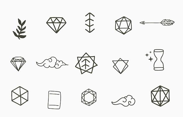 幾何学的な形のラインデザインのコレクション。ウェブサイト、ステッカー、タトゥー、アイコンの編集可能なベクトルイラスト