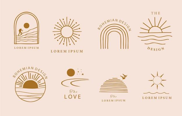 Коллекция дизайна линии с солнцем, горами. редактируемые векторные иллюстрации для веб-сайта, наклейки, татуировки, значок