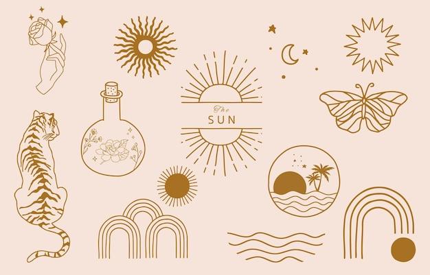 태양, 바다, 파도와 라인 디자인의 컬렉션입니다. 웹 사이트, 스티커, 문신, 아이콘에 대 한 편집 가능한 벡터 일러스트 레이 션