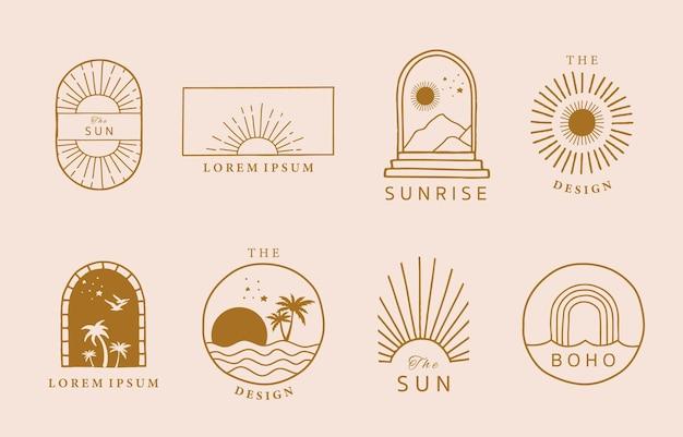 태양, 바다, 파도와 라인 디자인의 컬렉션입니다.