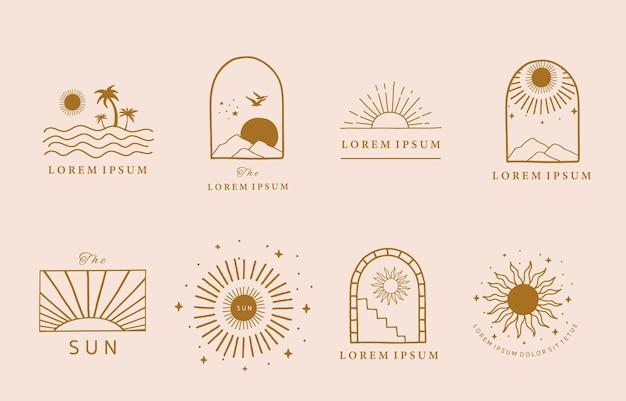 태양, 바다, 파도와 라인 디자인의 컬렉션입니다. 프리미엄 벡터