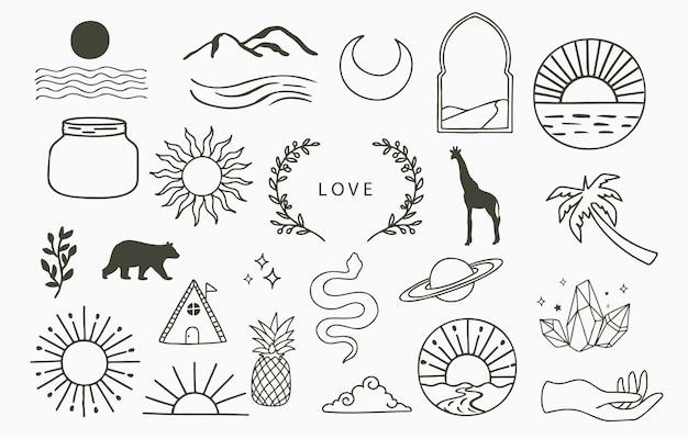 太陽、木とラインデザインのコレクション。ウェブサイト、ステッカー、タトゥー、アイコンの編集可能なベクトルイラスト