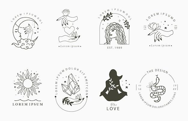 女性、クリスタル、月のラインデザインのコレクション。ウェブサイト、ステッカー、タトゥー、アイコンの編集可能なベクトルイラスト