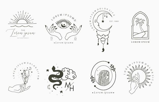 女性、ヘビ、月のラインデザインのコレクション。ウェブサイト、ステッカー、タトゥー、アイコンの編集可能なベクトルイラスト