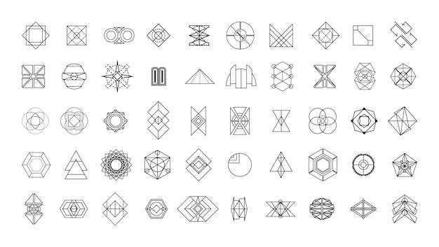 線形の幾何学的形状とパターンのコレクション。