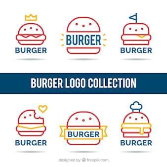 햄버거와 함께 선형 로고 컬렉션