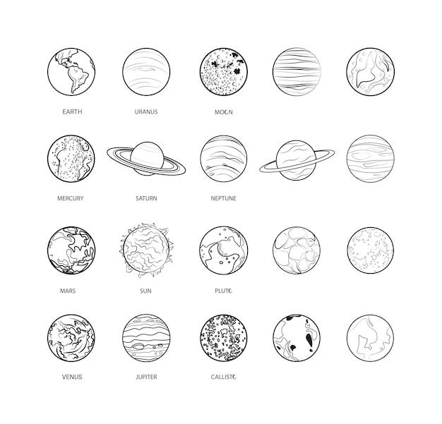 Коллекция линейных планет. иконы стиля эскиза.