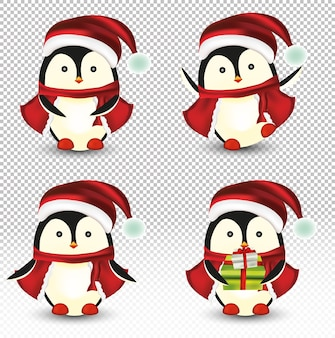 Коллекция маленьких рождественских пингвинов.