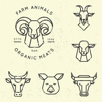 直線的なスタイルの農場の動物のロゴのコレクション