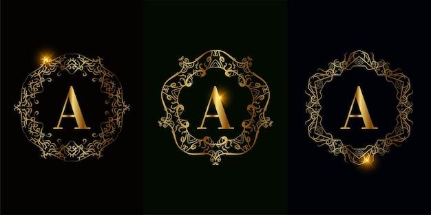 고급 만다라 장식 또는 꽃이있는 로고 이니셜 a 컬렉션
