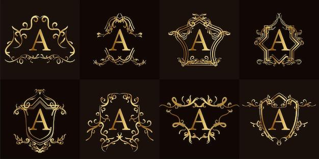 고급 장식 또는 꽃 프레임이있는 로고 이니셜 a 컬렉션