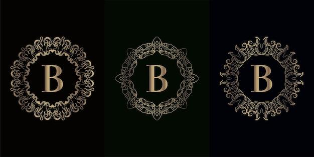 고급 만다라 장식 또는 꽃이있는 로고 이니셜 b 컬렉션