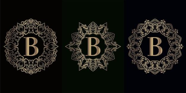 고급 만다라 장식 또는 꽃이 있는 로고 이니셜 b 컬렉션