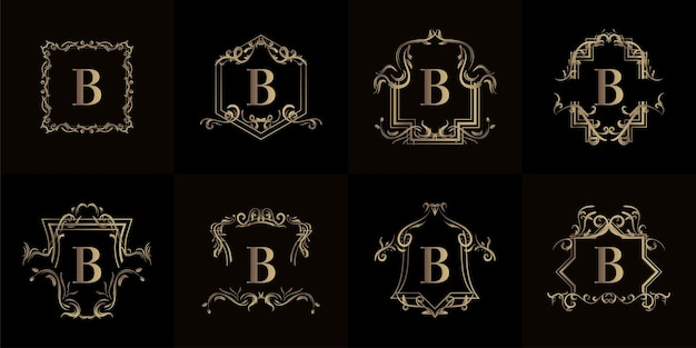 고급 장식 또는 꽃 프레임이 있는 로고 이니셜 b 컬렉션