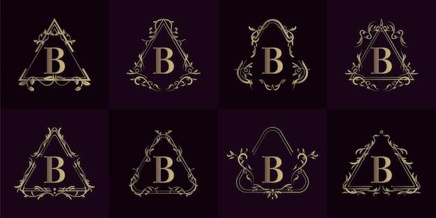 고급 장식이있는 로고 이니셜 b 컬렉션