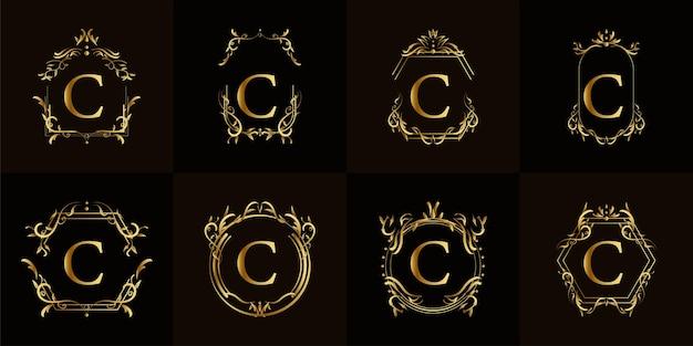 고급 장식 또는 꽃 프레임이있는 로고 이니셜 c 컬렉션