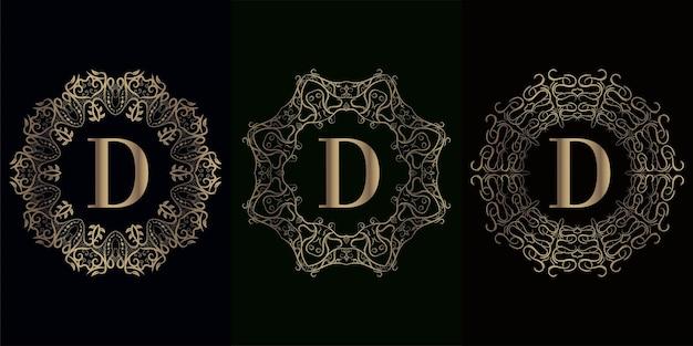 고급 만다라 장식 프레임이있는 로고 이니셜 d 컬렉션