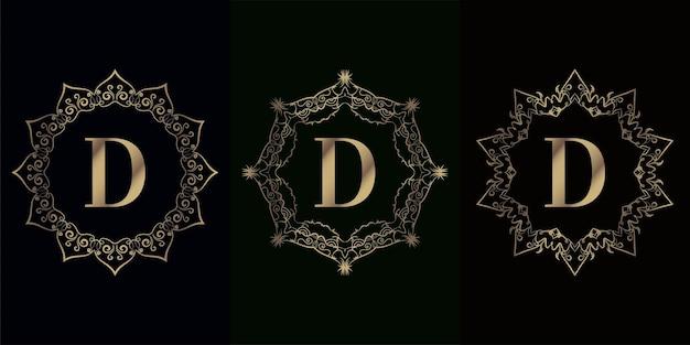 고급 만다라 장식 또는 꽃이있는 로고 이니셜 d 컬렉션