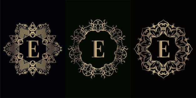 럭셔리 만다라 장식 프레임이있는 로고 이니셜 e 컬렉션