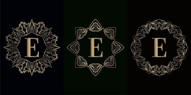 고급 만다라 장식 또는 꽃이있는 로고 이니셜 e 컬렉션