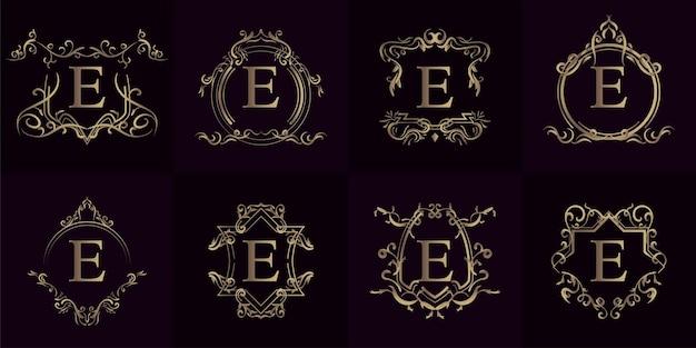 고급 장식 프레임이있는 로고 이니셜 e 컬렉션