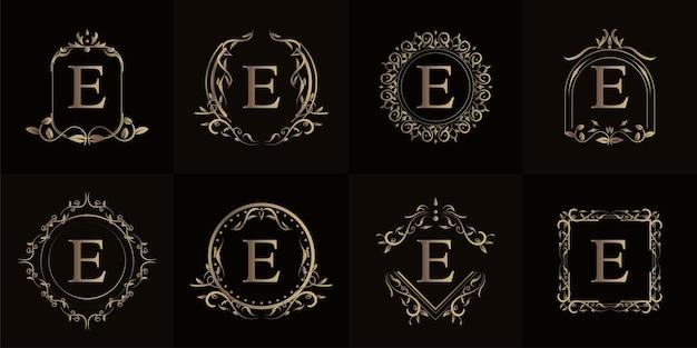 고급 장식 또는 꽃 프레임이있는 로고 이니셜 e 컬렉션