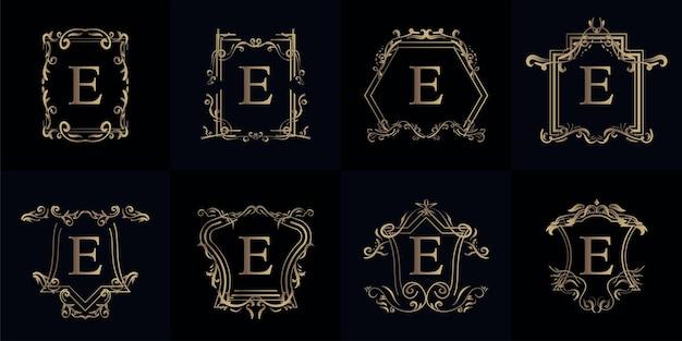 Коллекция логотипа с буквой e с роскошным орнаментом или цветочной рамкой