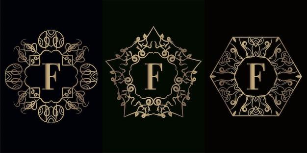 고급 만다라 장식 프레임이 있는 로고 이니셜 f 컬렉션