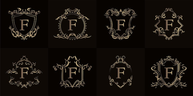 고급 장식 프레임이있는 로고 이니셜 f 컬렉션