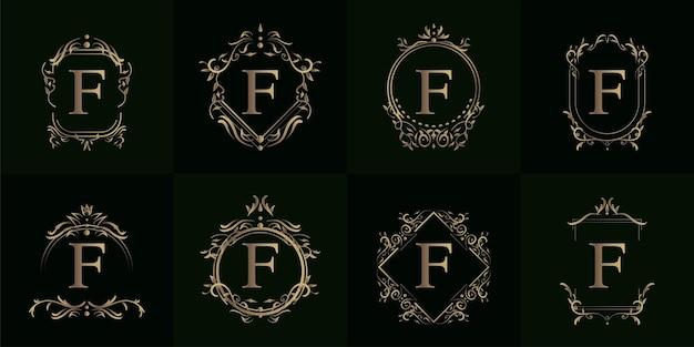 豪華な飾りや花のフレームとロゴのイニシャルfのコレクション