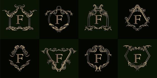 고급 장식 또는 꽃 프레임이 있는 로고 이니셜 f 컬렉션