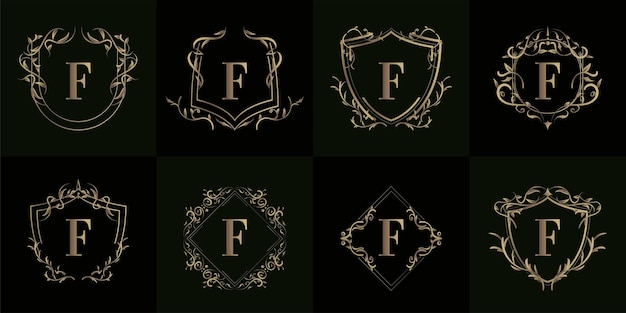高級装飾が施されたロゴイニシャルfのコレクション