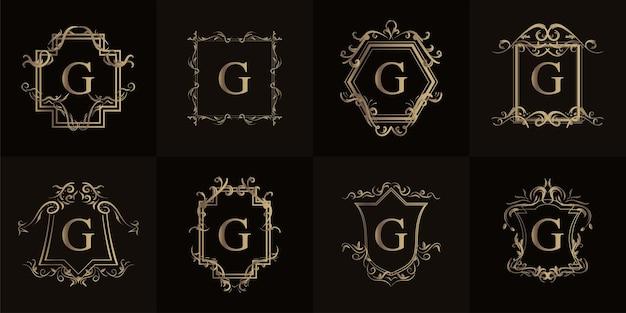 고급 장식 또는 꽃 프레임이 있는 로고 이니셜 g 컬렉션