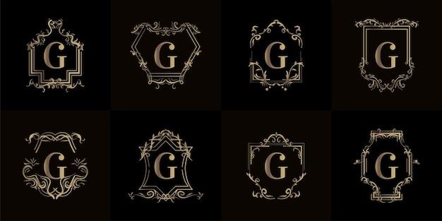 고급 장식이있는 로고 이니셜 g 컬렉션