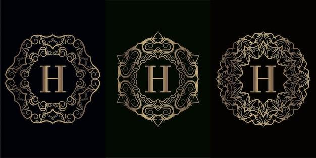 고급 만다라 장식 프레임이있는 로고 이니셜 h 컬렉션