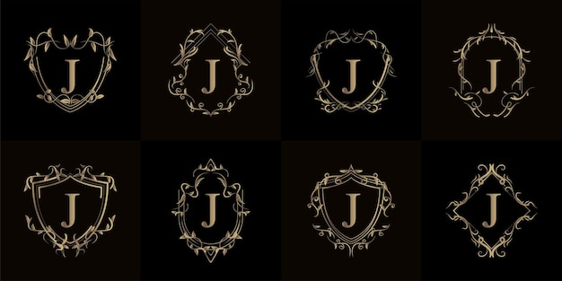 고급 장식 또는 꽃 프레임이있는 로고 이니셜 j 컬렉션