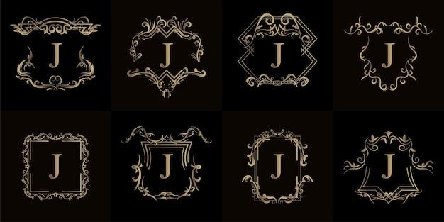 고급 장식 또는 꽃 프레임이 있는 로고 이니셜 j 컬렉션